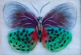 шерстяная живопись бабочка (фелтинг)