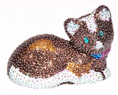 кошка - мозаика из пайеток: игрушки своими руками