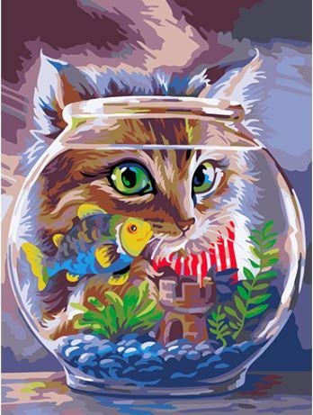 Кот и рыбка в аквариуме