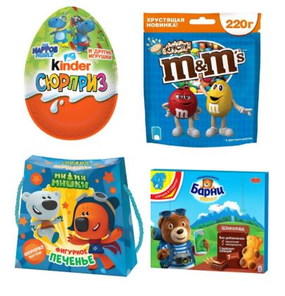 вкусные игрушки: киндер сюрприз, ми-ми-мишки, медвежонок барни