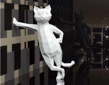 паперкрафт: полигональная скульптура из бумаги (кот)