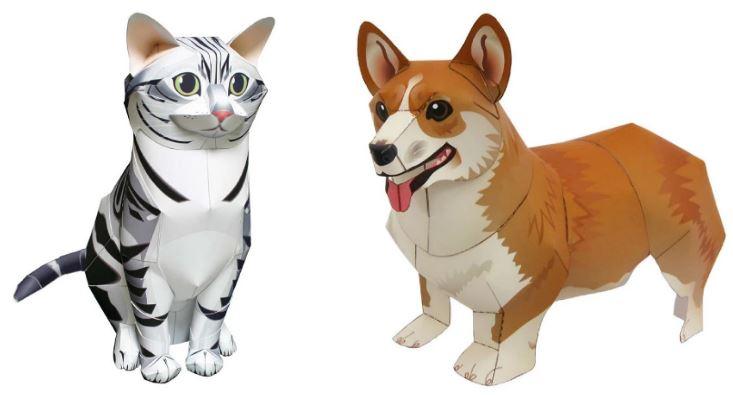 объемные животные из бумаги: кот и собака