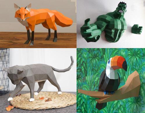 низкополигональные объемные фигуры животных и людей из бумаги
