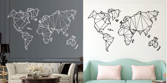 полигональные фигуры на стену: карта мира