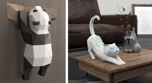 паперкрафт объемные фигуры из бумаги панда и кот