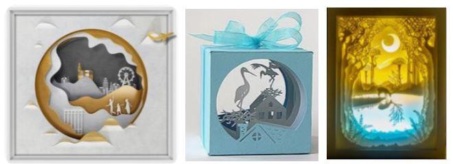 бумажный туннель: открытка, куб, светильник