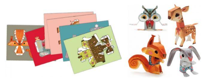 паперкрафт для детей: фигуры животных из картона