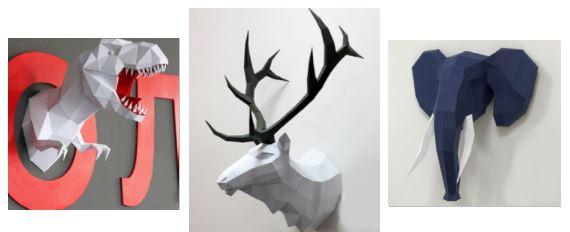 объемная голова из бумаги: животные паперкрафт