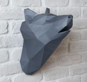 полигональная голова волка из бумаги (паперкрафт)