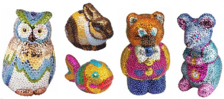 фигурки 3d из пайеток: совушка, рыбка, зайка, мишка, мышка