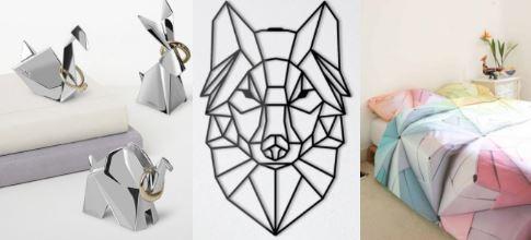 предметы декора в стиле оригами