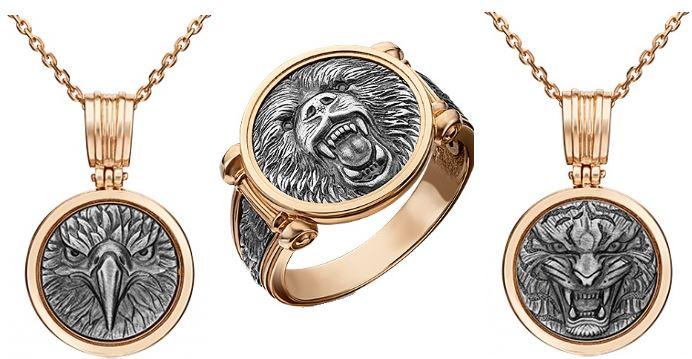 Игрушки из золота для мужчин: орел, медведь, тигр