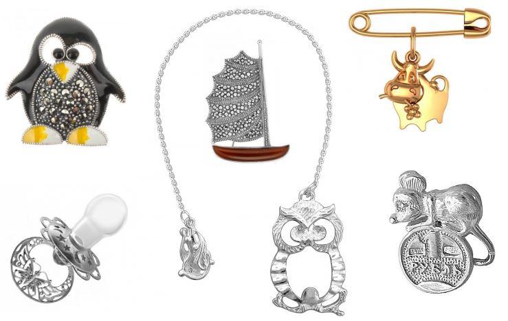 игрушки из серебра: броши и сувениры