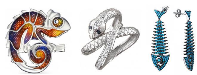 игрушки из настоящего серебра: брошь, кольцо, серьги