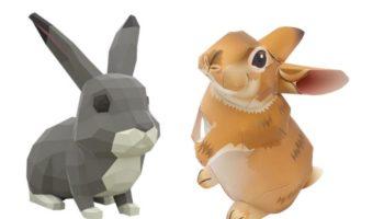 Объемные зайцы из бумаги: паперкрафт